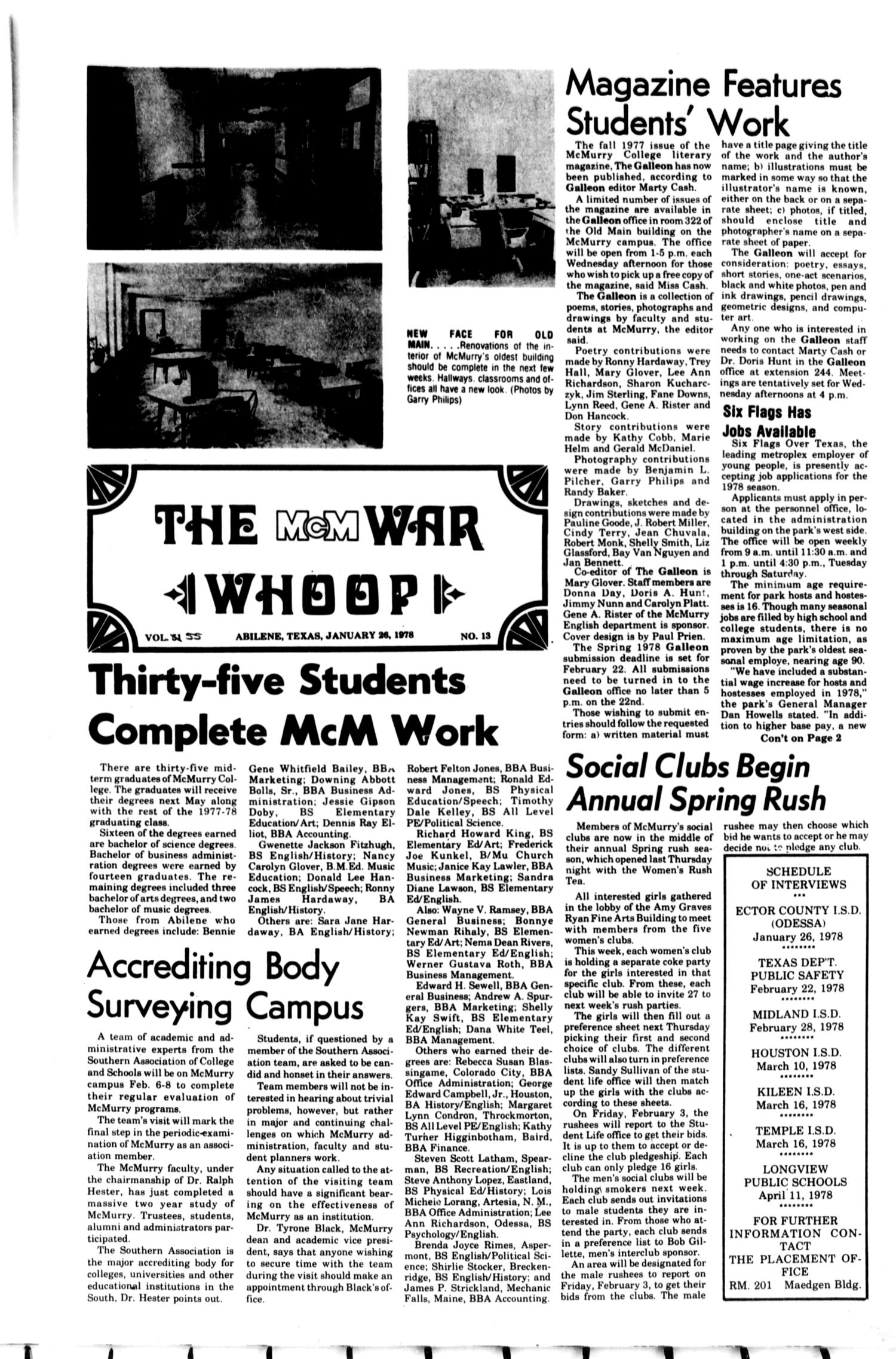 The McM War Whoop (Abilene, Tex.), Vol. 55, No. 13, Ed. 1, Thursday, January 26, 1978                                                                                                      [Sequence #]: 1 of 4