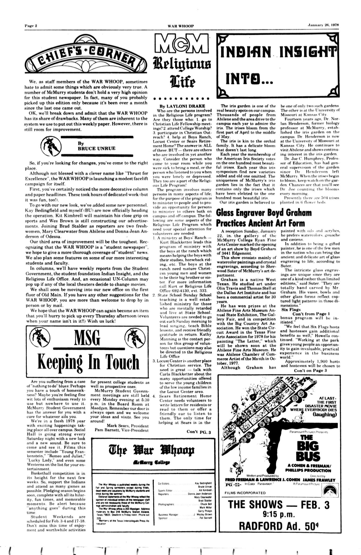 The McM War Whoop (Abilene, Tex.), Vol. 55, No. 13, Ed. 1, Thursday, January 26, 1978                                                                                                      [Sequence #]: 2 of 4