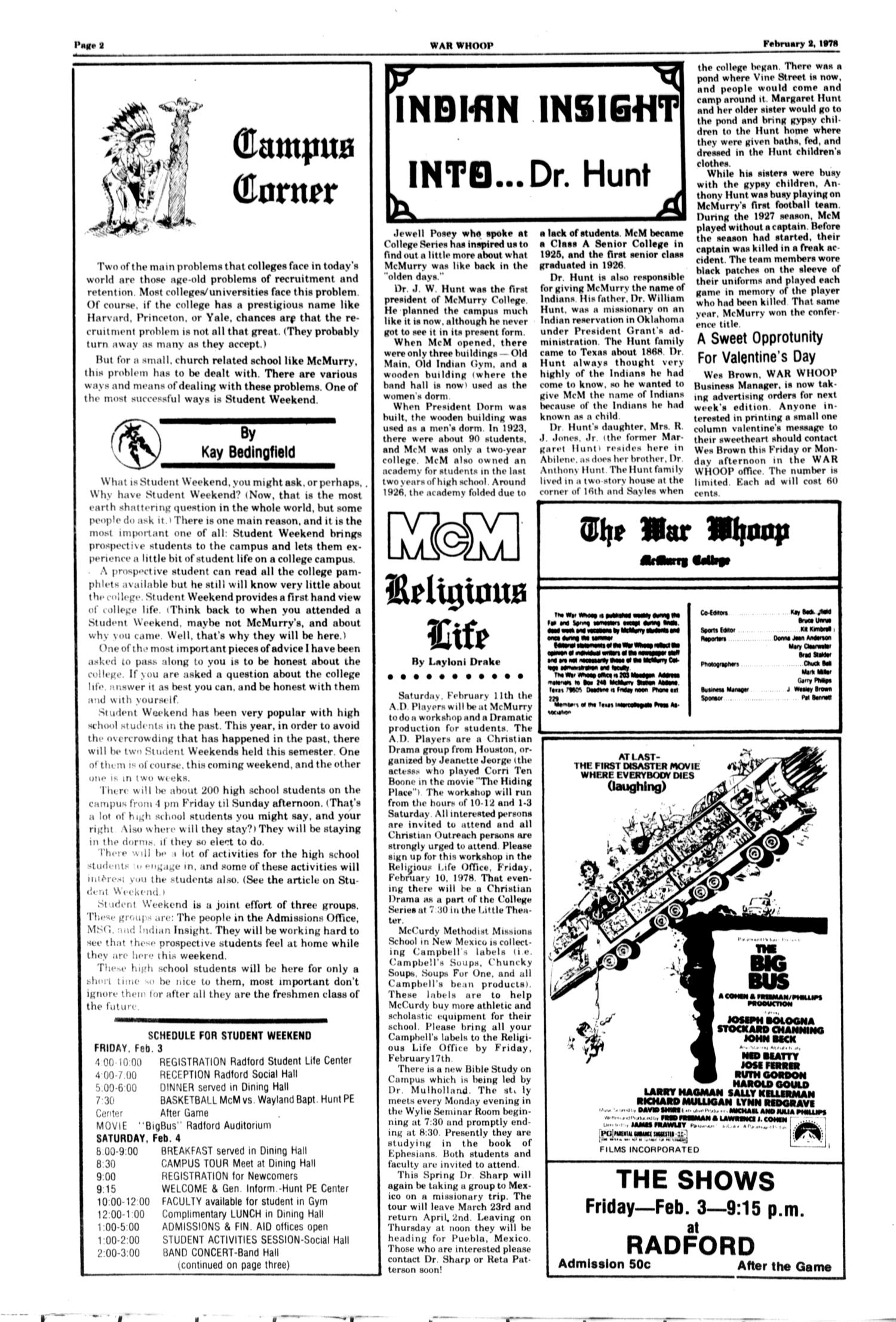 The McM War Whoop (Abilene, Tex.), Vol. 55, No. 14, Ed. 1, Thursday, February 2, 1978                                                                                                      [Sequence #]: 2 of 4