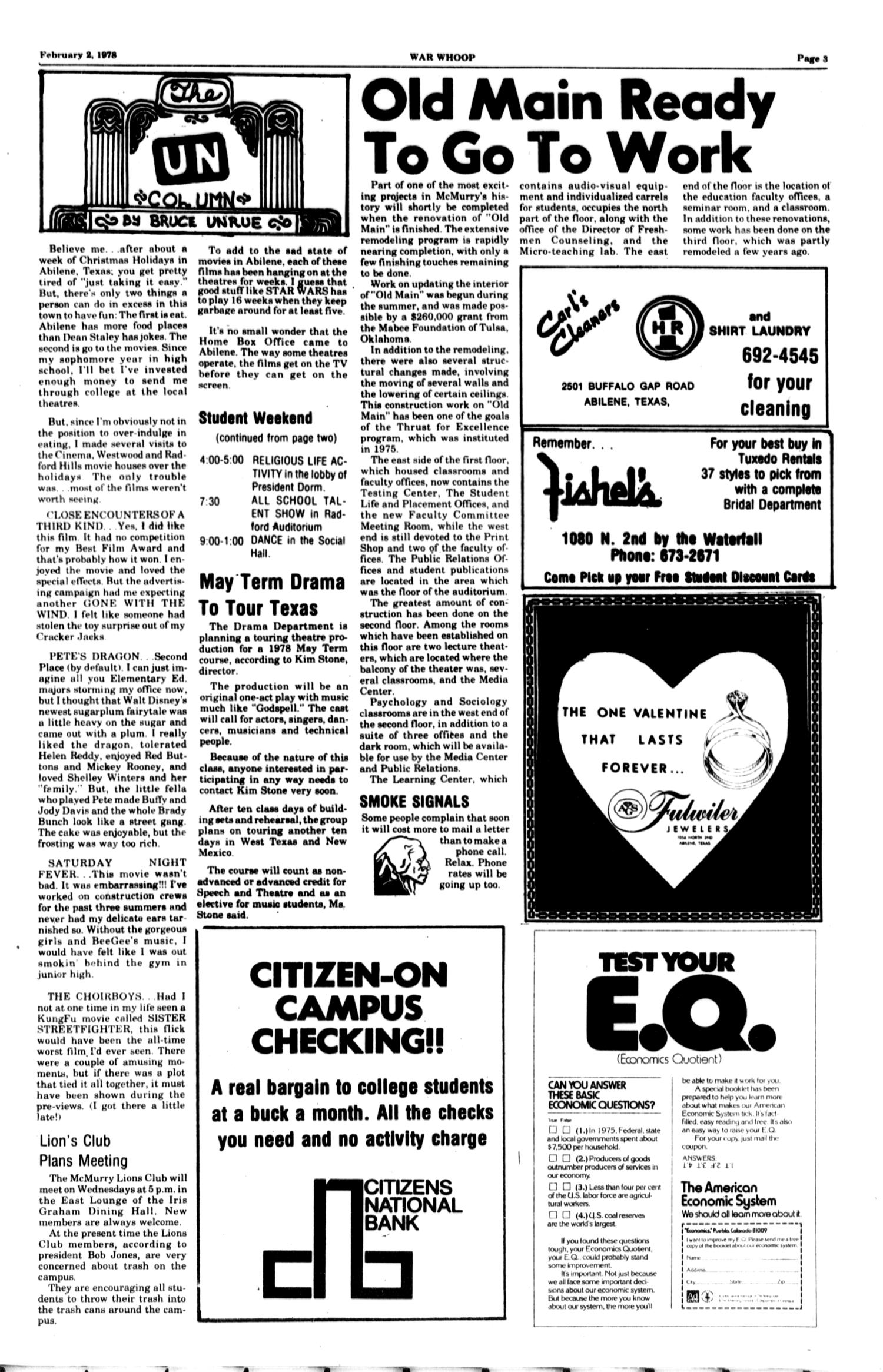 The McM War Whoop (Abilene, Tex.), Vol. 55, No. 14, Ed. 1, Thursday, February 2, 1978                                                                                                      [Sequence #]: 3 of 4