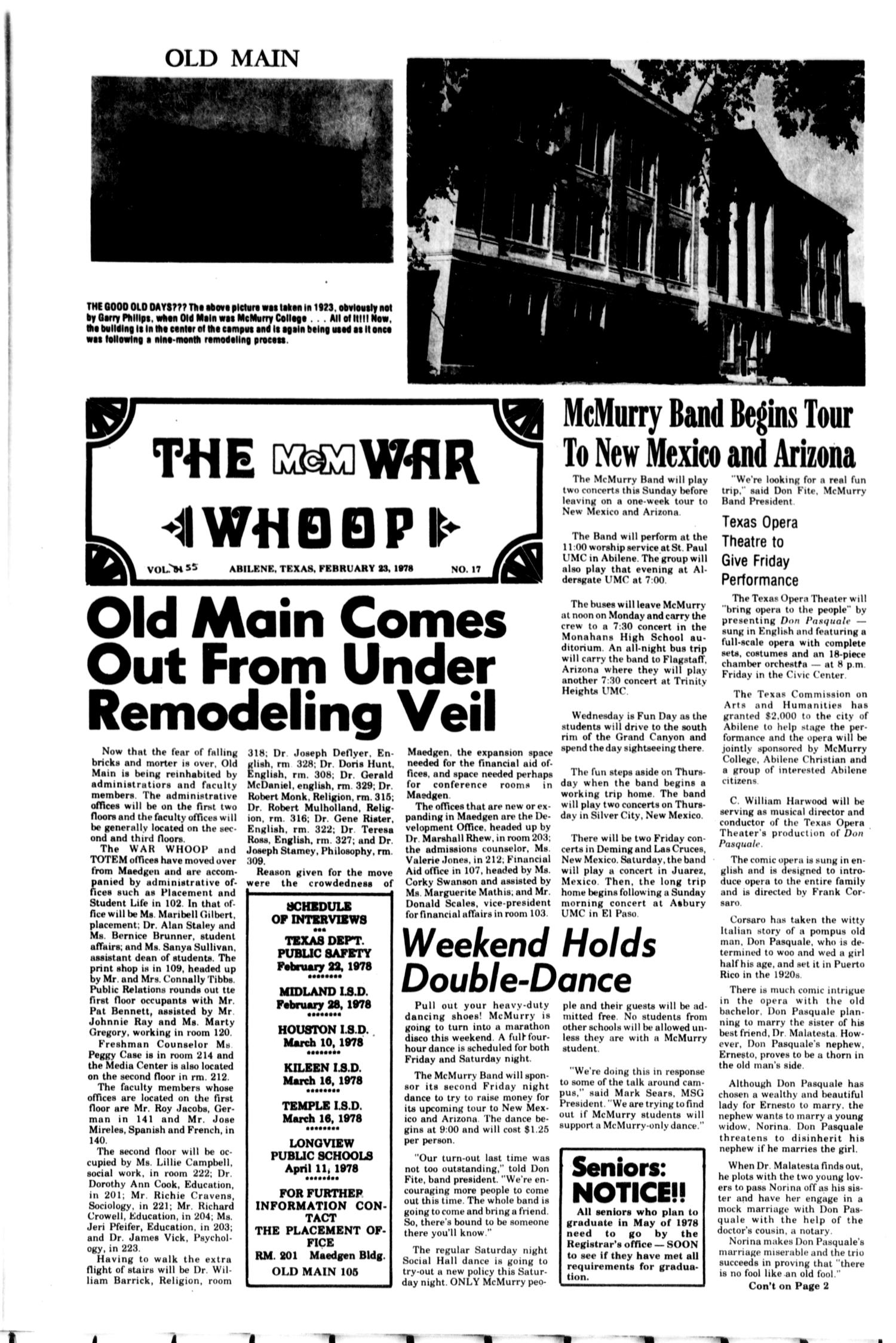 The McM War Whoop (Abilene, Tex.), Vol. 55, No. 17, Ed. 1, Thursday, February 23, 1978                                                                                                      [Sequence #]: 1 of 4