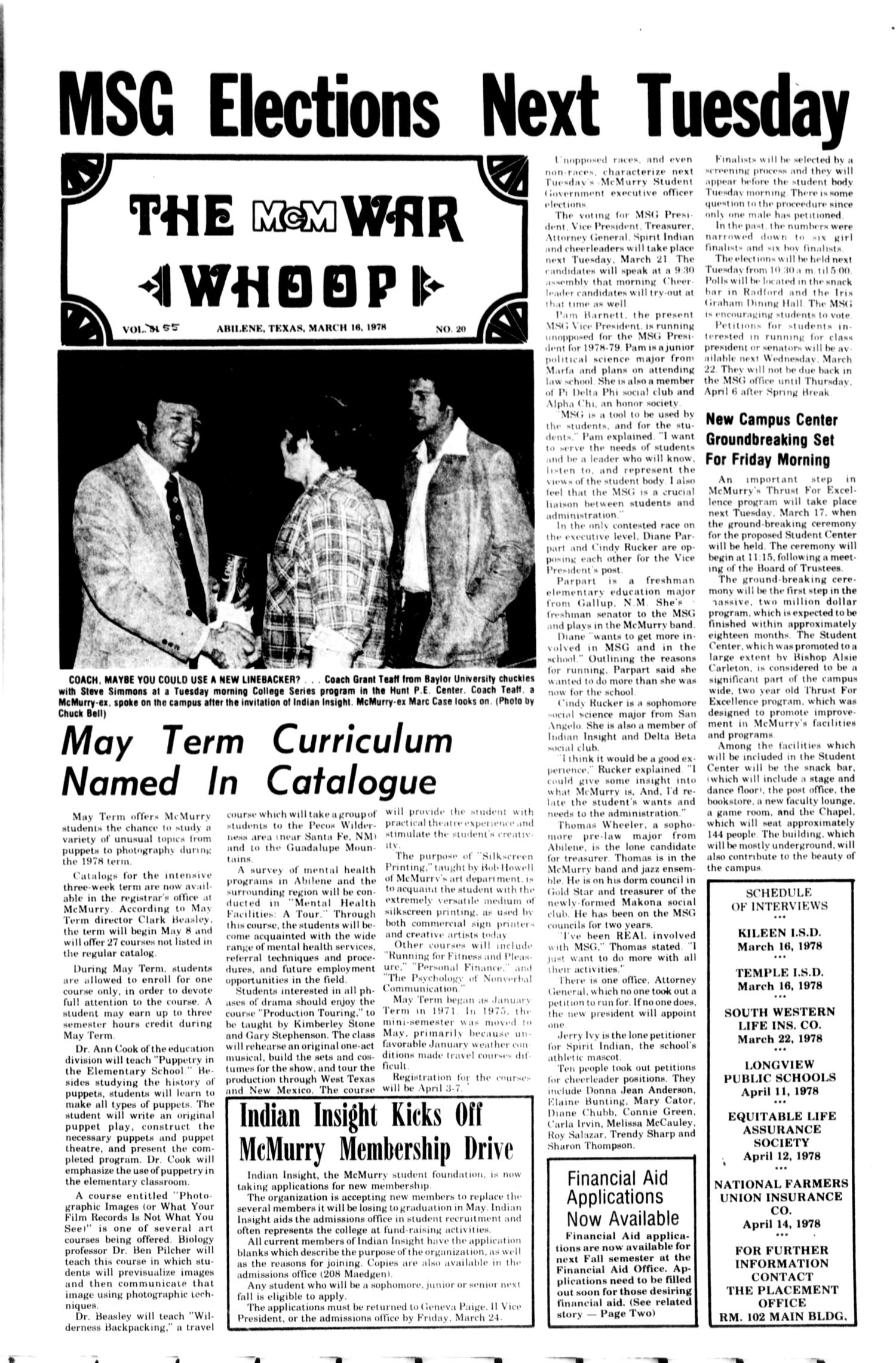 The McM War Whoop (Abilene, Tex.), Vol. 55, No. 20, Ed. 1, Thursday, March 16, 1978                                                                                                      [Sequence #]: 1 of 4