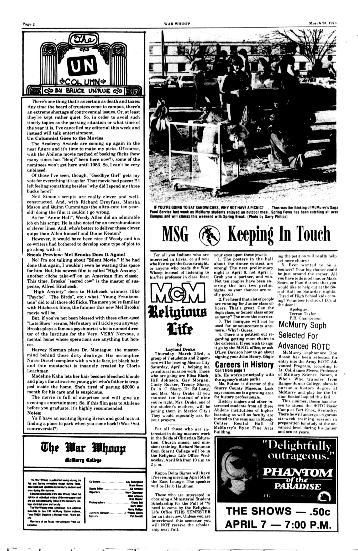 The McM War Whoop (Abilene, Tex.), Vol. 55, No. 21, Ed. 1, Thursday, March 23, 1978                                                                                                      [Sequence #]: 2 of 4