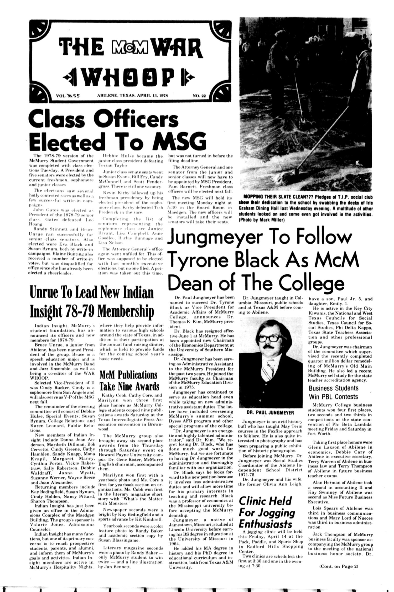 The McM War Whoop (Abilene, Tex.), Vol. 55, No. 22, Ed. 1, Thursday, April 13, 1978                                                                                                      [Sequence #]: 1 of 4