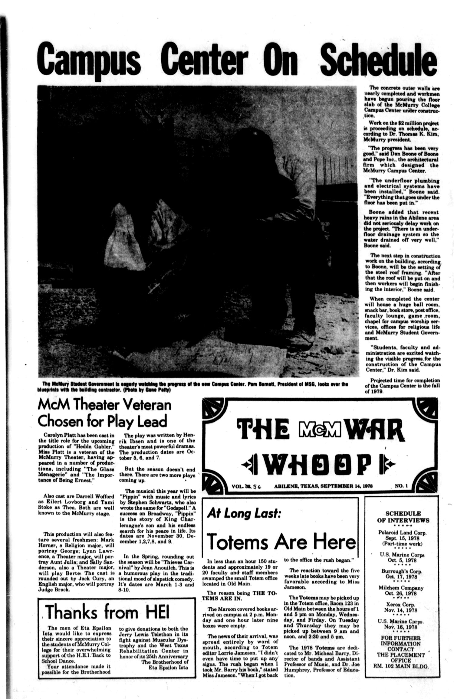 The McM War Whoop (Abilene, Tex.), Vol. 56, No. 1, Ed. 1, Thursday, September 14, 1978                                                                                                      [Sequence #]: 1 of 4