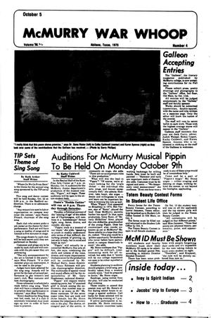 McMurry War Whoop (Abilene, Tex.), Vol. 56, No. 4, Ed. 1, Thursday, October 5, 1978