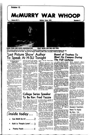 McMurry War Whoop (Abilene, Tex.), Vol. 56, No. 5, Ed. 1, Thursday, October 12, 1978