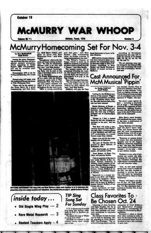 McMurry War Whoop (Abilene, Tex.), Vol. 56, No. 6, Ed. 1, Thursday, October 19, 1978