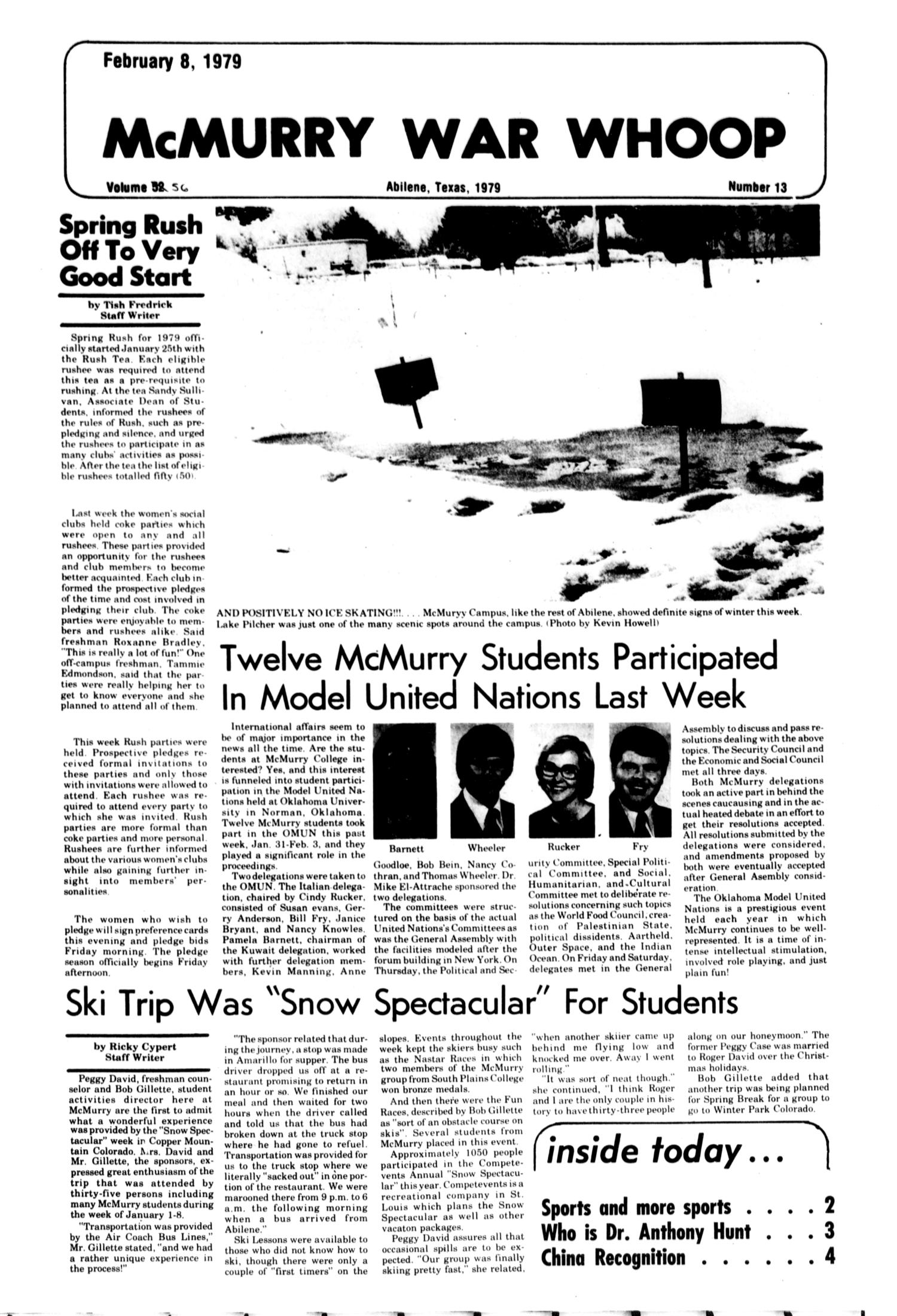 McMurry War Whoop (Abilene, Tex.), Vol. 56, No. 13, Ed. 1, Thursday, February 8, 1979                                                                                                      [Sequence #]: 1 of 4