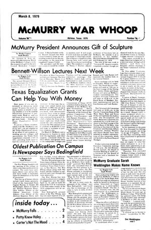 McMurry War Whoop (Abilene, Tex.), Vol. 56, No. 17, Ed. 1, Thursday, March 8, 1979