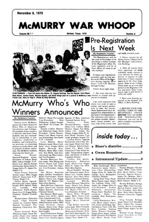 Primary view of object titled 'McMurry War Whoop (Abilene, Tex.), Vol. 57, No. 8, Ed. 1, Thursday, November 8, 1979'.