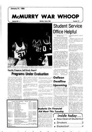 McMurry War Whoop (Abilene, Tex.), Vol. 57, No. 12, Ed. 1, Thursday, January 31, 1980