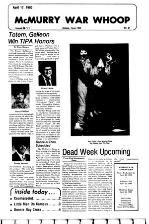 McMurry War Whoop (Abilene, Tex.), Vol. 57, No. 21, Ed. 1, Thursday, April 17, 1980