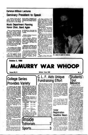McMurry War Whoop (Abilene, Tex.), Vol. 58, No. 4, Ed. 1, Thursday, October 2, 1980