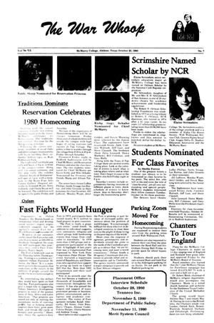 The War Whoop (Abilene, Tex.), Vol. 58, No. 7, Ed. 1, Thursday, October 23, 1980