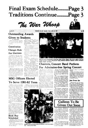 Primary view of object titled 'The War Whoop (Abilene, Tex.), Vol. 58, No. 21, Ed. 1, Thursday, April 16, 1981'.