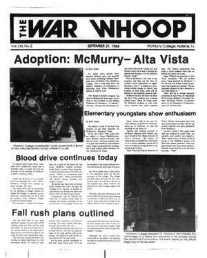 Primary view of object titled 'The War Whoop (Abilene, Tex.), Vol. 62, No. 2, Ed. 1, Friday, September 21, 1984'.