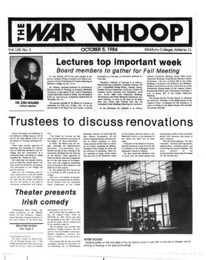 Primary view of object titled 'The War Whoop (Abilene, Tex.), Vol. 62, No. 3, Ed. 1, Friday, October 5, 1984'.