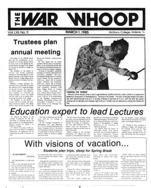 The War Whoop (Abilene, Tex.), Vol. 62, No. 11, Ed. 1, Friday, March 1, 1985