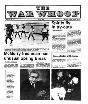 Primary view of object titled 'The War Whoop (Abilene, Tex.), Vol. 65, No. 12, Ed. 1, Friday, April 8, 1988'.