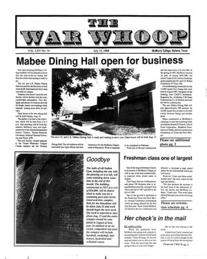 Primary view of object titled 'The War Whoop (Abilene, Tex.), Vol. 65, No. 14, Ed. 1, Friday, July 15, 1988'.