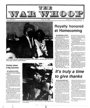 Primary view of object titled 'The War Whoop (Abilene, Tex.), Vol. 66, No. 7, Ed. 1, Friday, November 18, 1988'.