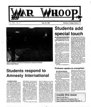 Primary view of object titled 'War Whoop (Abilene, Tex.), Vol. 66, No. 10, Ed. 1, Friday, February 24, 1989'.