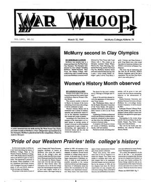 Primary view of object titled 'War Whoop (Abilene, Tex.), Vol. 66, No. 11, Ed. 1, Friday, March 10, 1989'.