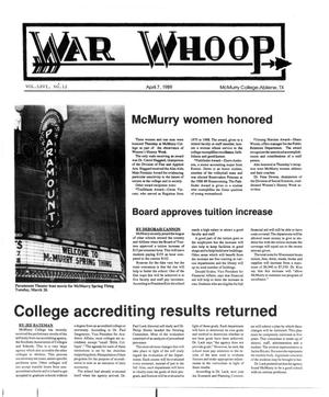 Primary view of object titled 'War Whoop (Abilene, Tex.), Vol. 66, No. 12, Ed. 1, Friday, April 7, 1989'.