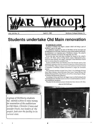 Primary view of object titled 'War Whoop (Abilene, Tex.), Vol. 66, No. 13, Ed. 1, Friday, April 21, 1989'.