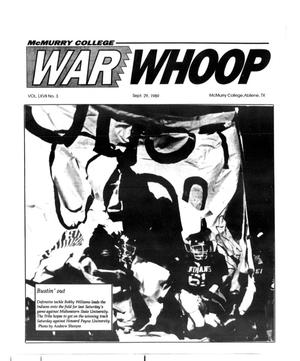 Primary view of object titled 'McMurry College War Whoop (Abilene, Tex.), Vol. 67, No. 3, Ed. 1, Friday, September 29, 1989'.