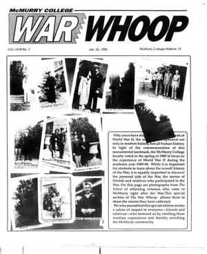 Primary view of object titled 'McMurry College War Whoop (Abilene, Tex.), Vol. 67, No. 7, Ed. 1, Friday, January 26, 1990'.