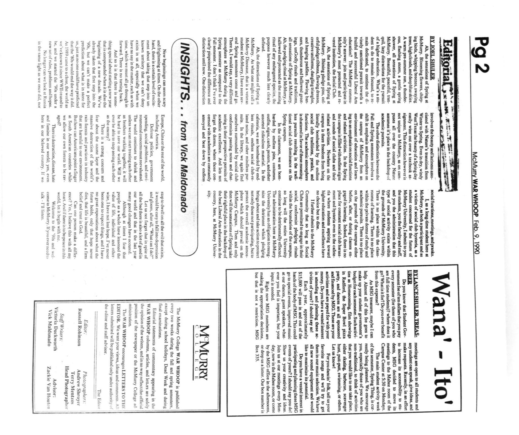 McMurry College War Whoop (Abilene, Tex.), Vol. 67, No. 8, Ed. 1, Friday, February 9, 1990                                                                                                      [Sequence #]: 2 of 8
