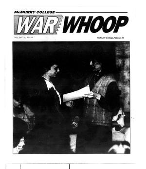 Primary view of object titled 'McMurry College War Whoop (Abilene, Tex.), Vol. 67, No. 10, Ed. 1, Friday, March 9, 1990'.