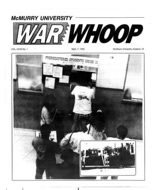 Primary view of object titled 'McMurry Univeristy War Whoop (Abilene, Tex.), Vol. 68, No. 1, Ed. 1, Friday, September 7, 1990'.