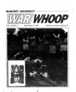 Primary view of object titled 'McMurry University War Whoop (Abilene, Tex.), Vol. 68, No. 2, Ed. 1, Friday, September 21, 1990'.