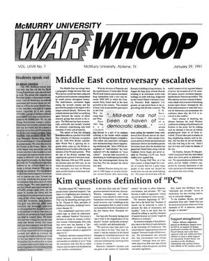 Primary view of object titled 'McMurry University War Whoop (Abilene, Tex.), Vol. 68, No. 7, Ed. 1, Tuesday, January 29, 1991'.