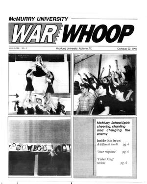 Primary view of object titled 'McMurry University War Whoop (Abilene, Tex.), Vol. 69, No. 4, Ed. 1, Tuesday, October 22, 1991'.