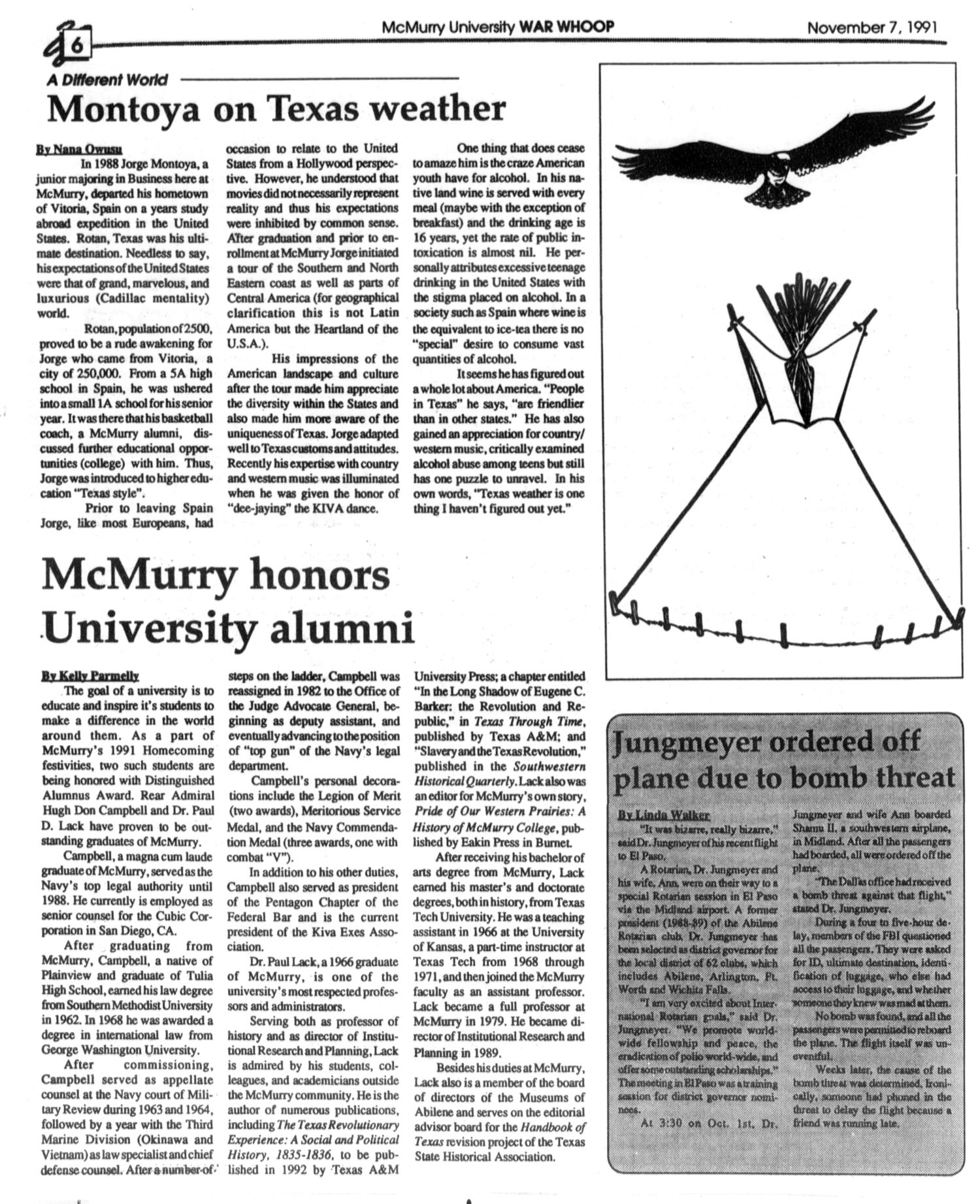 McMurry University War Whoop (Abilene, Tex.), Vol. 69, No. 5, Ed. 1, Thursday, November 7, 1991                                                                                                      [Sequence #]: 6 of 8