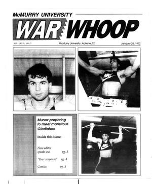 Primary view of object titled 'McMurry University War Whoop (Abilene, Tex.), Vol. 69, No. 7, Ed. 1, Tuesday, January 28, 1992'.