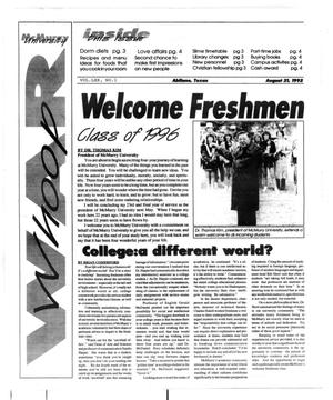 Primary view of object titled 'McMurry University War Whoop (Abilene, Tex.), Vol. 70, No. 1, Ed. 1, Tuesday, April 21, 1992'.
