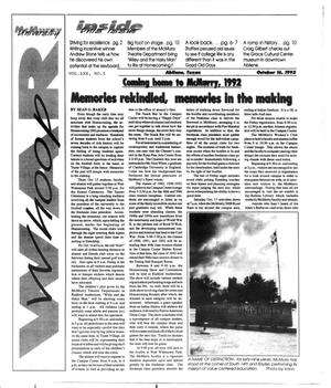 Primary view of object titled 'McMurry University War Whoop (Abilene, Tex.), Vol. 70, No. 5, Ed. 1, Friday, October 16, 1992'.