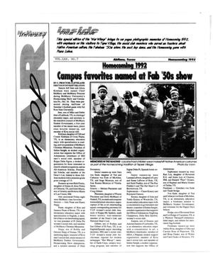 Primary view of object titled 'McMurry University War Whoop (Abilene, Tex.), Vol. 70, No. 7, Ed. 1, Sunday, November 1, 1992'.