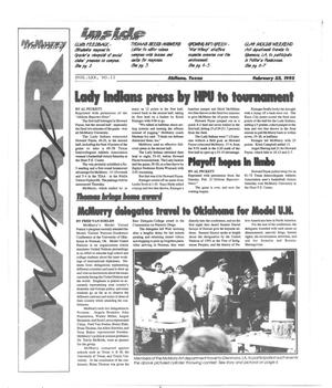 Primary view of object titled 'McMurry University War Whoop (Abilene, Tex.), Vol. 70, No. 11, Ed. 1, Monday, February 22, 1993'.