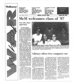 Primary view of object titled 'McMurry University War Whoop (Abilene, Tex.), Vol. 71, No. 1, Ed. 1, Friday, August 20, 1993'.