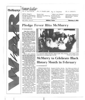 Primary view of object titled 'McMurry University War Whoop (Abilene, Tex.), Vol. 71, No. 10, Ed. 1, Monday, February 7, 1994'.