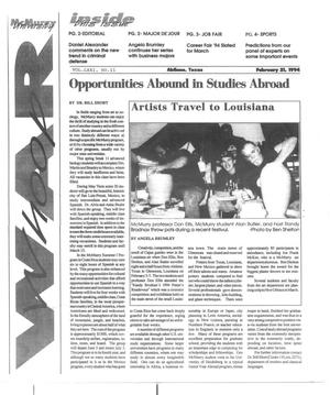Primary view of object titled 'McMurry University War Whoop (Abilene, Tex.), Vol. 71, No. 11, Ed. 1, Monday, February 21, 1994'.