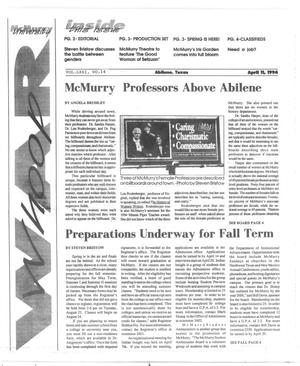 Primary view of object titled 'McMurry University War Whoop (Abilene, Tex.), Vol. 71, No. 14, Ed. 1, Monday, April 11, 1994'.