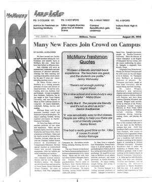 Primary view of object titled 'McMurry University War Whoop (Abilene, Tex.), Vol. 72, No. 1, Ed. 1, Monday, August 29, 1994'.