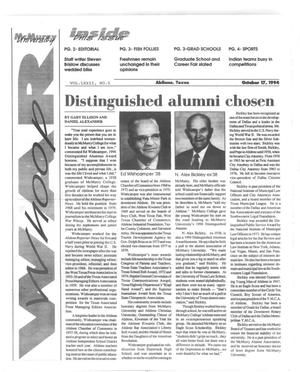 Primary view of object titled 'McMurry University War Whoop (Abilene, Tex.), Vol. 72, No. 5, Ed. 1, Monday, October 17, 1994'.